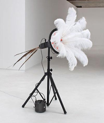 Zag, 2013, feathers, fiberglass, aluminum, electronics, 68 x 37 x 90″